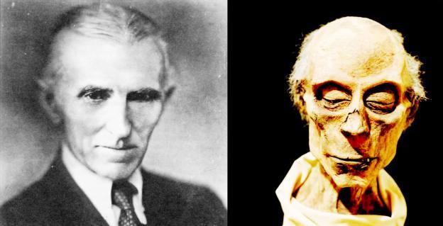 N. Tesla nuotrauka ir Ramzio II mumija.