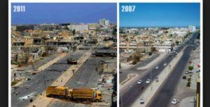 Libija prieš ir po išvadavimo.