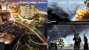 Tripoli, Libija prieš ir po išvadavimo.