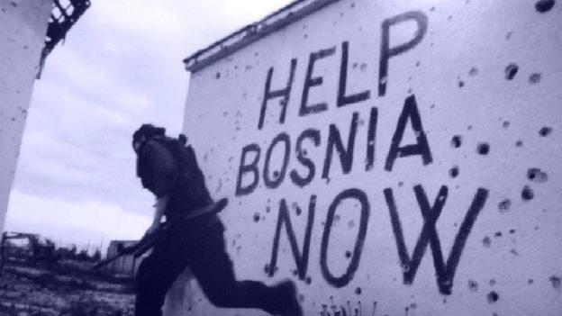 """Užrašas """"padėkite Bosnijai dabar"""""""