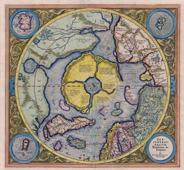 Hiperborėja, tolimoji šalis tikroje šiaurėje. Hipotetinė Arijų tėvynė. (1623 m. išleistas žemėlapis)