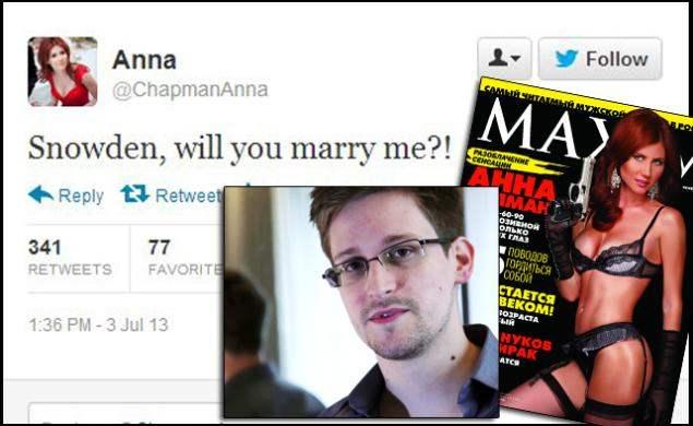 Tikra meilė tik tarp šnipų - buvusi Rusijos žvalgybos darbuotoja, šiuo metu Rusijos TV žvaigždė, Anna Čapman, Edwardo Snowdeno, buvusio CŽV darbuotojo, pabėgusio iš JAV su svarbiomis valstybinėmis paslaptimis, kuris tuo metu gyveno Maskvos oro uoste, per Twitterį klausia - ar jis ją vestų? Snowdenas šiame oro uoste, tuo metu praleido 40 dienų, pasilikęs neutralioje teritorijoje, neįžengęs į Rusijos valdas, kur jam greičiausiai tuo metu buvo saugiausia pasilikti, po tokios savo tėvynės išdavystės.